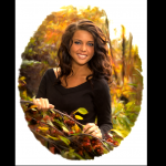 Digital painting photography Utah fall leaf Girl in oval